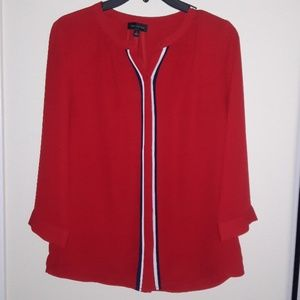 The Limited. Red blouse wih blue & white trim